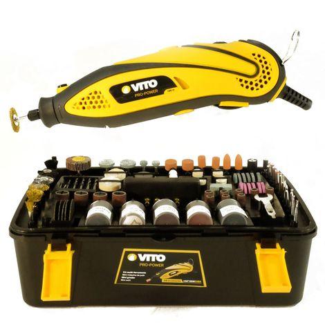 Mini Outillage VITO multi-fonctions 135W polyvalent 218 accessoires+ rallonge souple de 1 m -6 vitesses de travail