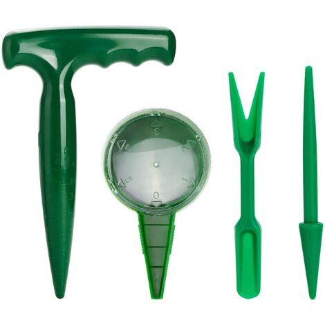 Mini Outils de Jardinage Outil Repiquage 4 Pièces Kit Doutils de Jardinière Coup de Poing Semoir Semis en Deux Pièces pour Extérieur Jardin