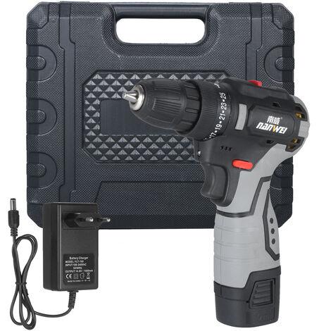 Mini perceuse ¨¦lectrique au lithium sans brosse pour pistolet en acier, norme europ¨¦enne, une batterie et un chargeur