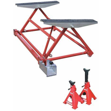 Mini Pont Elevateur Mobile Basculant pour Levage Auto 1500 kg + 1 paire de Chandelles 3T