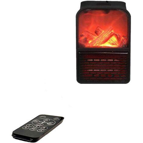 Mini Radiateur Soufflant, Fast Heater, Radiateur Électrique Chauffage, flamme simulée, Montage Mural de 900 W avec Affichage numérique de la minuterie réglable et télécommande (Noir-2)