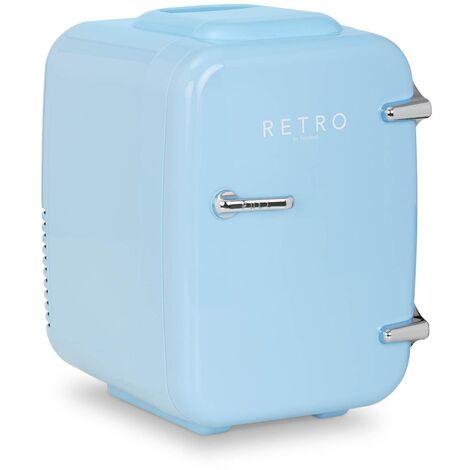 Mini Refrigerador Mininevera Portátil Con Función De Calor Diseño Retro 4 L Azul