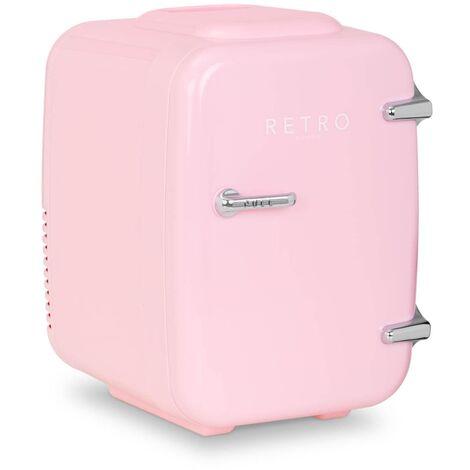 Mini Refrigerador Mininevera Portátil Con Función De Calor Diseño Retro 4 L Rosa