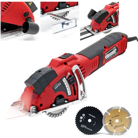 Mini Saw with Laser 600W Power Output incl. 3 Saw Blades for Metal, Wood & Tiles