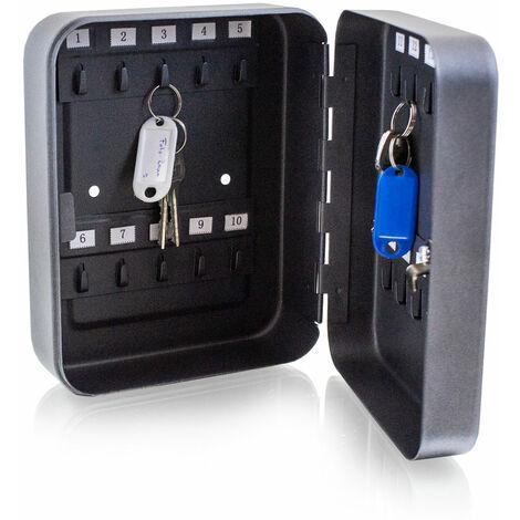 Mini Schlüsselkasten Schlüsseltresor Schlüsselschrank mit 20 Schlüsselhaken Graphit Optik