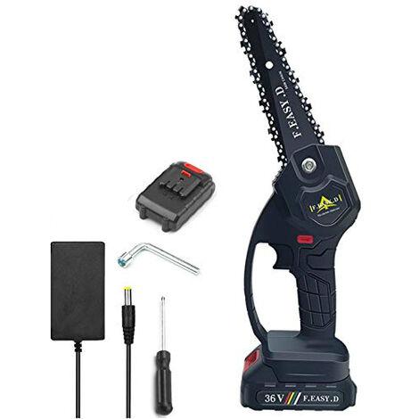 Mini scie à chaîne électrique 36V 12.7CM, mini tronçonneuse à main électrique avec 1 batteries, 1 charge