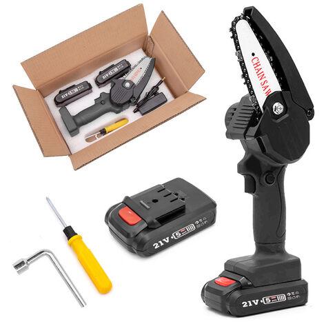 Mini scie a chaine electrique rechargeable au lithium HiLDA de 4 pouces avec deux batteries et un chargeur, emballage en carton, 220 V EU