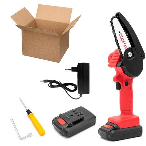 Mini scie achaine electrique sans fil rechargeable, scie achaine abatterie au lithium, emballage en carton rouge, deux batteries et une charge, 220 V EU