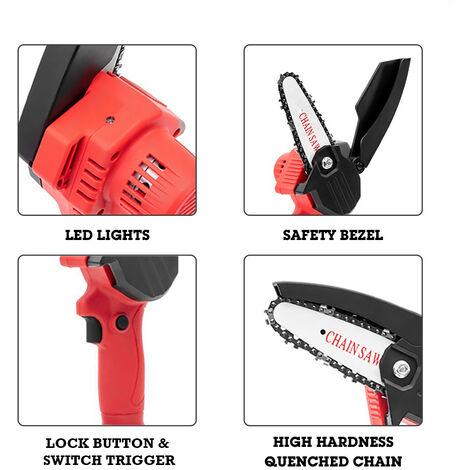 Mini scie achaine electrique sans fil rechargeable, scie achaine abatterie au lithium, rouge, metal nu, emballage de boite en plastique
