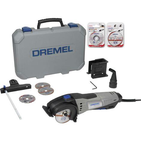 Mini scie circulaire + accessoires, + mallette 13 pièces Dremel DSM20/3-8 F013SM20KC 710 W