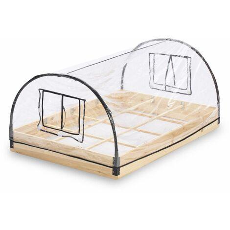 Mini serre de jardin 1m² avec base en bois autoclave et PVC Estragon 12 compartiments serre maraîchère