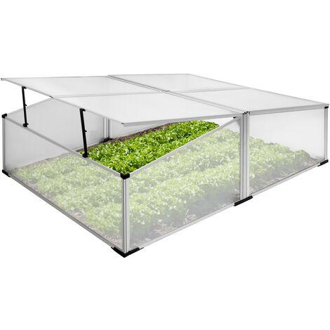 Mini serre de jardin sans fond à 4 trappes polycarbonate aluminium 100x120x40 cm