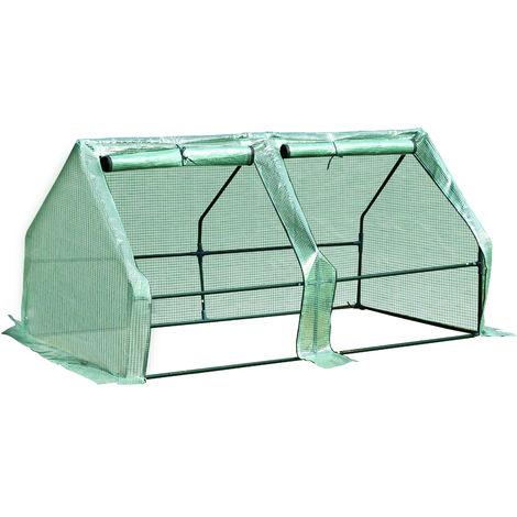 Mini serre de jardin serre à tomates 180L x 90l x 90H cm acier PE haute densité 140 g/m² anti-UV 2 fenêtres avec zip enroulables vert