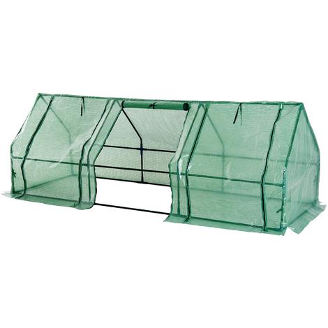 Mini serre de jardin serre à tomates 270L x 90l x 90H cm acier PE haute densité 140 g/m² anti-UV 3 fenêtres avec zip enroulables vert