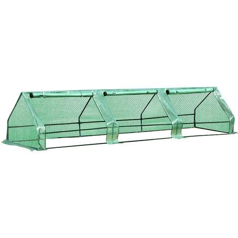 Mini serre de jardin serre à tomates 400L x 100l x 80H cm acier PE haute densité 140 g/m² anti-UV 3 fenêtres avec zip enroulables vert