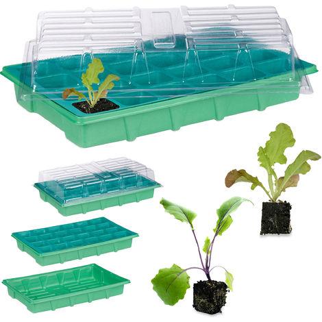 Mini serre d'intérieur 24 compartiments couvercle semis terrine plants fleurs légumes 38 x 24,5 cm, vert