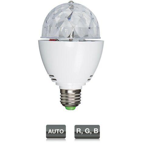 Mini Sphère Fonestar Effet LED 3 x 1 W RGB, buse E27, 80 x 135 mm de haut, longue durée de vie.
