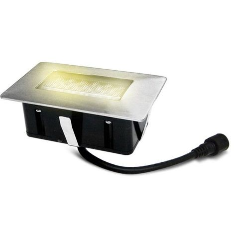 Mini Spot encastrable rectangle 6x10cm Inox Mini DECK Light 2W LED integrés IP67 Blanc Chaud extérieur EASY CONNECT - 65446