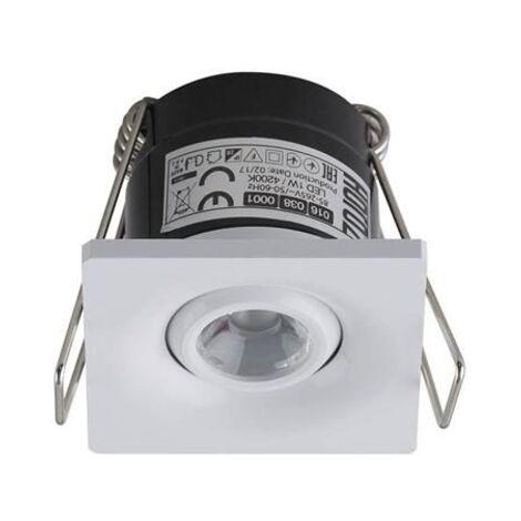 Mini spot LED 1W orientable carré blanc
