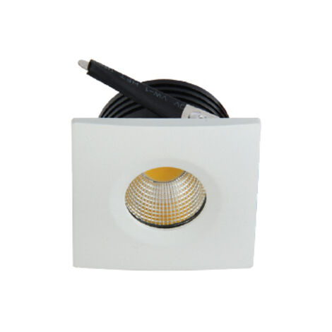 Mini spot LED encastrable carré EVA-2 3W (Eq. 24W) 6500K Blanc Dim.40x40mm
