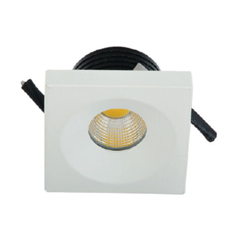 Mini spot LED encastrable carré EVA-4 3W (Eq. 24W) 6500K Blanc Dim.44x44mm