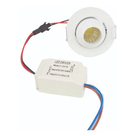 Mini Spot LED Encastrable Orientable 3W COB 45 Rond