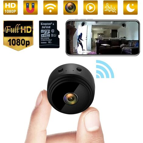 Mini Spy, 32G 1080p WiFi Hidden Camera with Night Vision Home Security Surveillance Camera, Miniature Baby Camera and Motion Detection with 32G Memory Card