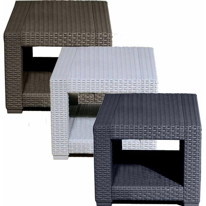 Mini Table Basse Carrée Petite en Rotin Gris Mobilier d'Extérieur Jardin Patio