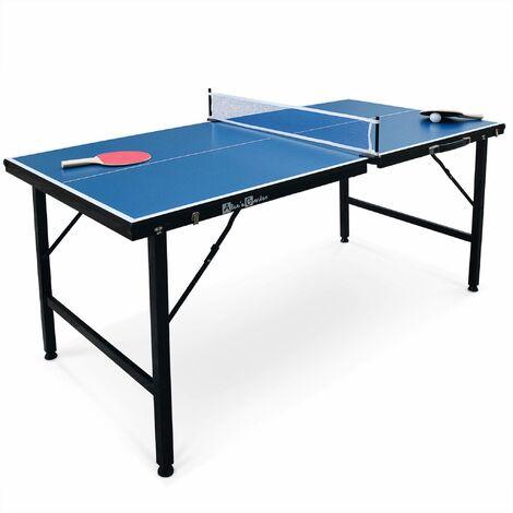 Mini table de ping pong 150x75cm - table pliable INDOOR bleue, avec 2 raquettes et 3 balles, valise de jeu pour utilisation intérieure, sport tennis de table