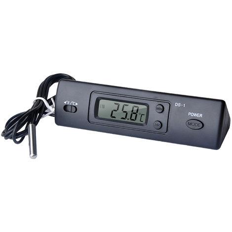 Mini termometro electronico termometro digital del coche de interior al aire libre de multiples funciones de tiempo del termometro Pantalla de temperatura con sonda