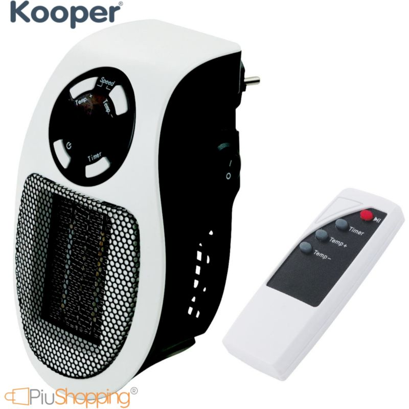 Mini Termoventilatore con Telecomando Stufa Elettrico 500 W Con Timer Da Parete 2 Velocità