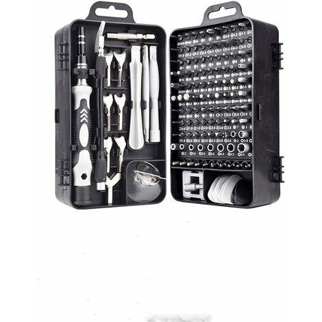 Mini tournevis magnétique de précision 135 en 1 - Kit d'outils de réparation pour iPhone, ordinateur portable, montre avec organiseur de rangement, noir