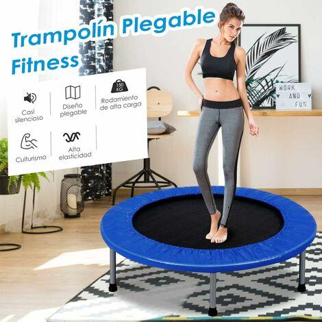 Mini Trampolín de φ96cm Cama Elástica Fitness Carga hasta 100 kg Trampolín Plegable para Jardín Interior Exterior