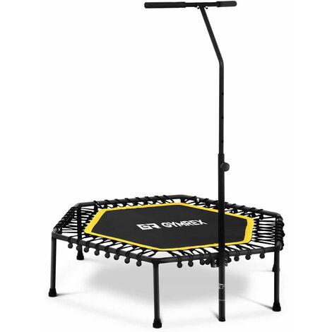 Mini Trampoline de Fitness à Élastique Barre de Maintien Tapis 85 X 95 Cm Jaune
