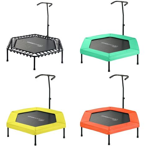Mini Trampoline de Fitness Hexagonal + Poignée, Sport Gym Intérieur Rebondisseur