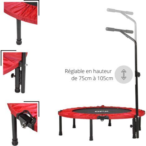 Mini Trampoline Fitness ø92 cm Pliable avec Simple Bar en T réglable – Choix couleur