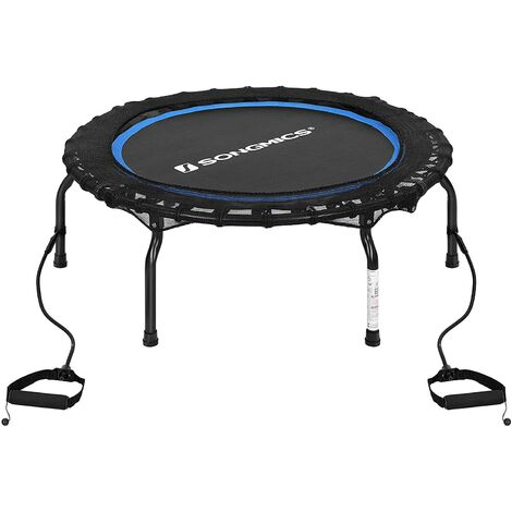 Mini Trampoline, Folding Design Fitness Rebounder Workouts for Adults, Aerobic Exercise Indoor Trampolines with Resistance Bands, Maximum Weight 120 kg, 38-Inch STR38BUV1