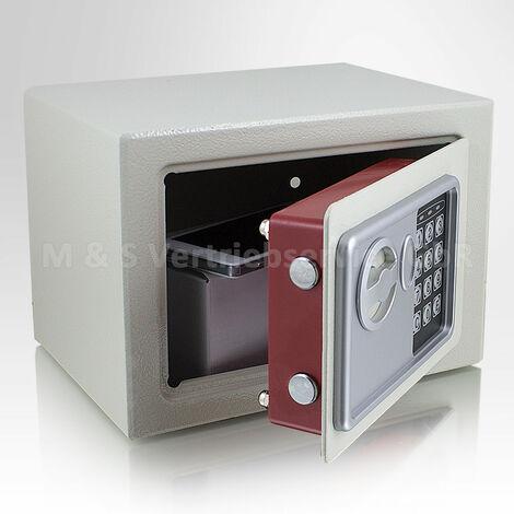 Mini Tresor Zahlenschloss elektronisch Minisafe Wandtresor Wandsafe Grau Safe Maße(B/H/T): 230mm x 170mm x 170mm Türstärke: 3 mm