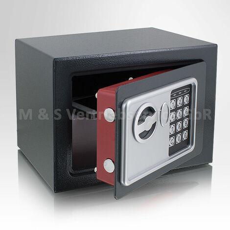 Mini Tresor Zahlenschloss elektronisch Minisafe Wandtresor Wandsafe Grau Tresor Maße(B/H/T): 230mm x 170mm x 170mm Türstärke: 3 mm