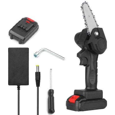 Mini Tronconneuse, Tronconneuse Electrique Portable Sans Fil De 4 Pouces Rechargeable 24 V, Noire, Un Type D'Alimentation Et Un Type De Charge