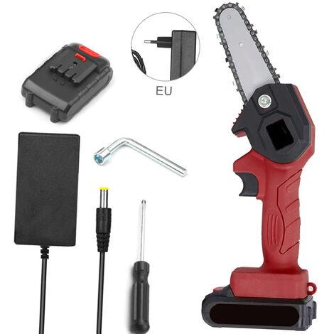 Mini Tronconneuse, Tronconneuse Electrique Portable Sans Fil De 4 Pouces Rechargeable 24 V, Rouge, Un Type D'Alimentation Et Un Type De Charge