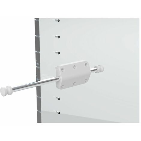 Mini tube porte cintre retractable - Décor : Chromé - Epaisseur : 18 mm - Longueur : 245 mm - Matériau : Acier / Nylon - Platine : 80 x 48 mm - Sortie : 120 mm - AMBOS