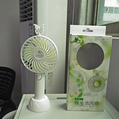 Mini USB Fan, Portable Hand Fan 3 Speed Table Fan With Rechargeable Battery For Summer Travel Match Outdoor Offices And Bedrooms, White
