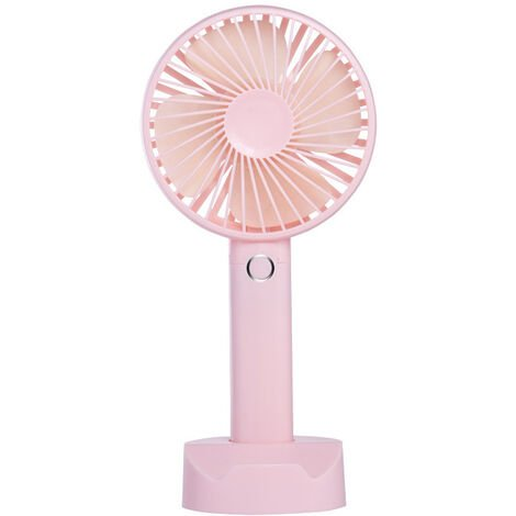 Mini USB Fan, Portable Hand Fan 3 Speed Table Fan with Rechargeable Battery for Summer Travel Match Outdoor Offices Bedroom and, Pink