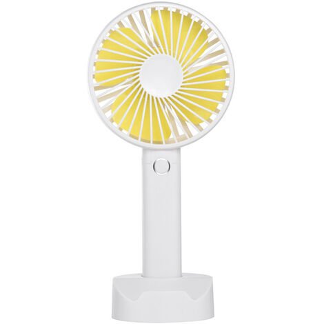 Mini USB Fan, Portable Hand Fan 3 Speed Table Fan with Rechargeable Battery for Summer Travel Match Outdoor Offices Bedroom and, White