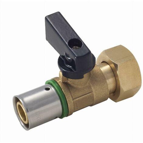 Mini vanne 1/4 tour à sertir profil TH sur tube PER NOYON & THIEBAULT - Ø 16 mm à visser femelle écrou libre F1/2' (15x21) Bague à sertir en inox - 2721-1516L1