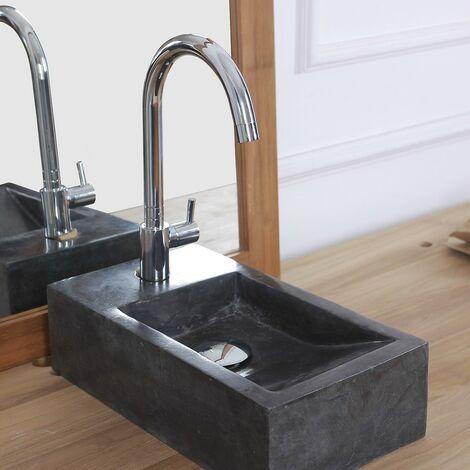 Mini vasque rectangulaire en pierre de marbre - Noir