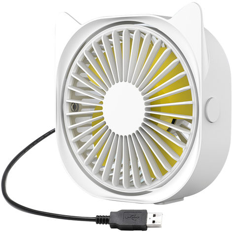 Mini Ventilateur De Bureau, 3 Vitesses, Rotation A 360 Degres, Blanc