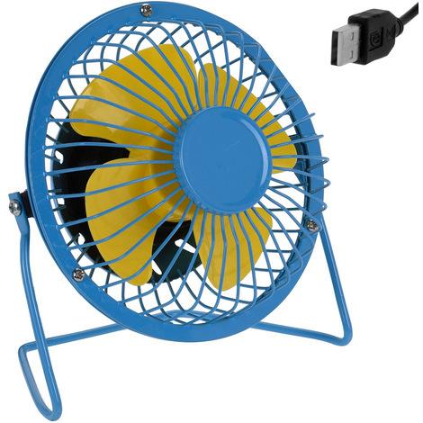 Mini ventilateur de bureau table USB métal inclinable à 360° Ø 13,5cm - Bleu/Jaune débit d'air élevé