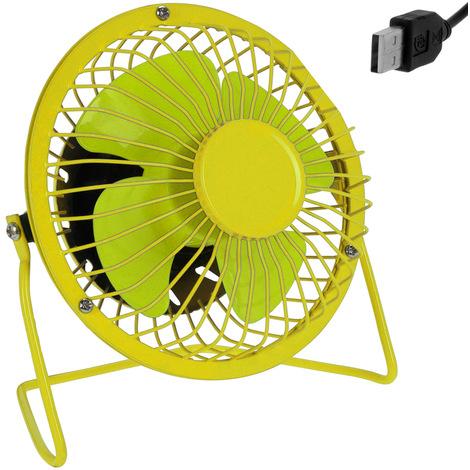 Mini ventilateur de bureau table USB métal inclinable à 360° Ø 13,5cm - Jaune/Vert débit d'air élevé